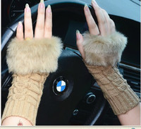 Wholesale Protable lovely lady winter pure manual weaving warm imitation fur fashion gloves