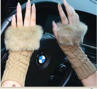 Wholesale Protable lovely women winter pure manual weaving warm imitation fur fashion gloves