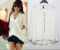 Wholesale Fashion Women s Long Sleeve V Neck Many Buttons Casual white Shirts Loose Blouse Cotton Shirt For Women XC