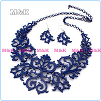 Wholesale Fashion Blue Spray Paint Elegant Hollow Alloy Pendants Jewelry Sets Bib Choker Collars Statement Necklace And Earrings Set