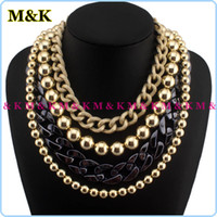 Wholesale Luxury Big Size Acrylic And Chunky Metal Chain Statement Necklace Pearl Beaded Choker Jewelry Accessories For Woman Clothing