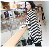 Wholesale Maternity clothing stripe long sleeve womens maternity tees loose pregnant clothes tops wear retail amp p