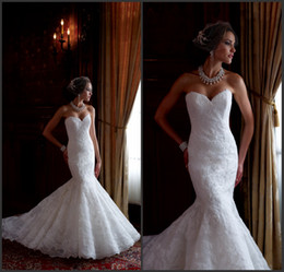 Wholesale Affordable Mermaid Sweetheart Sweep Train White Lace Wedding Dresses Garden Sexy Wedding Gowns New Arrival Bridal Dresses