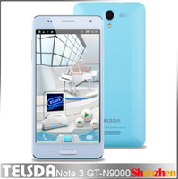 Wholesale TELSDA Note3 GT N9000 Note iii N9000 MTK6572 Dual Core android with inch IPS Screen GHz plastic back cover cell phone