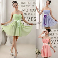 Wholesale 2013 Cheap Sweetheart Chiffon Bridesmaid Dresses Strapless Short Chiffon Homecoming Dress