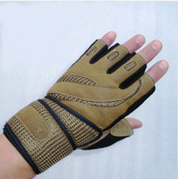 Wholesale 1 pair High quality no slip fitness gloves half finger outdoor sport gloves breathable tactical gloves with mm long wristband