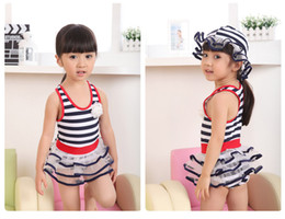 Wholesale Girls Baby piece Bikini tutu Swimwear Children Stripes Swimwear Children Summer Baby Swim Hats Girls tutu Bathing Suits Kids Beach Wears