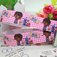 Wholesale New Doc McStuffins cartoon printed ribbon grosgrain hairbow diy party decoration OEM mm yards gift package