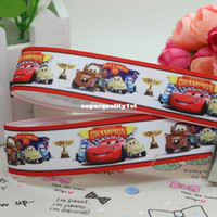 Wholesale New animal design cars cartoon printed ribbon grosgrain hairbow diy party decoration OEM mm yards
