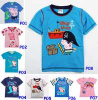 Wholesale Brand New Peppa Pig amp George Summer Kids Children Girls Short Sleeves T Shirts Tees Baby Girl Cartoon Tops Colors Choose for T pc