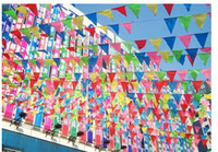 Wholesale 75M150flags Ropes Wedding Bunting Triangle Flag Decoration Christmas Festival Supplies Married String Flags Decor