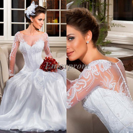 2017 manches longues boutons robe backless de mariage 2014 Hot Sale Livraison gratuite Blanc Satin Scoop Long Sleeve Appliques Lace Covered Button Sheer Backless A-Line Robes de mariée LT08 manches longues boutons robe backless de mariage autorisation