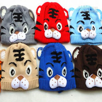 Unisex Spring / Autumn Crochet Hats HOT SALE 10pcs Winter Boys Girls Children Hats Baby Wool Caps Winter Warm Protect Cartoon Tiger Knit Cap Christmas Promotions FREE SHIPPING