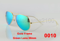 Pilot Man Antireflection 5pairs Mens Womens Designer Sunglasses Sun Glasses Gold Frame Green Iridium Lens 58mm Eyewear 30 Colors With Box And Leather Case Excellent