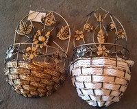 Wholesale Straw braid rattan flower woven pattern bottle hanging basket wicker rattan iron glass ceramic modern