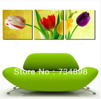 Oil Painting Fashion floral 3 Pieces Free Shipping Hot Sell Modern Wall Painting Tulip Flowers Home Wall Art Picture Paint on Canvas Prints