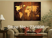 More Panel Oil Painting Abstract handpainted 3 piece modern abstract decorative world map pictures oil painting on canvas wall art for living room free shipping