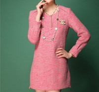 Wholesale New Designer Elegant Pretty Exquisite Wool Slimming Women Winter Dress Ladies Longsleeve Skirt Winter Clothing High Quality Pink T965