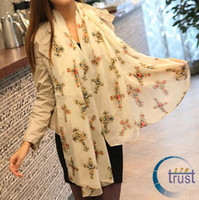 Wholesale New European Style Fashion Cool Lovely Colorful Crosses Design Chiffon Scarves Shawl S WJ01