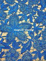 Wholesale lace fabric turquoise blue water soluble heavy embroidery fabric wedding dress costumes designated material by yard