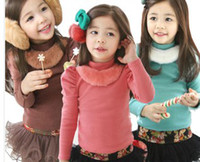 plain clothing - Children Girls Fur Stand Collar Long Sleeve Solid Plain Shirts Puff Sleeve Red Blue Brown Fashion Winter Clothing B1853