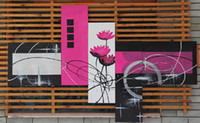 More Panel Oil Painting Fashion Framed 5 Panel Large Black White and Purple Flower Painting 5 Panel Wall Art Picture Interior Decoration Home Picture XD01703