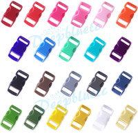 "Cheap 100 pcs 3 8"" Mix Color Shackle Contoured Curved Side Release Plastic Buckle for Paracord Bracelet"