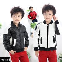 Wholesale new children s winter models boys waterproof PU leather down jacket coat autumn influx of men