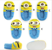 Wholesale For Christmas Despicable Me Plush Stuffed Slippers Soft Toy D Eyes Jorge Minions Cosy Feet Winter Cartoon Animal Household Flat Shoes