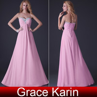 Wholesale Grace Karin Pink Strapless Gowns Chiffon Party Gown Prom Ball Evening Long Celebrity Dress CL3518