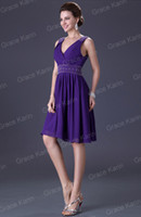 Wholesale Grace Karin Fast Delivery Short Party Prom Dress V Neck lace Evening Bridesmaid Gown Blue and Purple CL3137