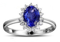 Wholesale 14K White Gold Ring Oval mmm Tanzanite and Natural Diamond Solid Gold Wedding Setting Engagement Ring Certificate Jewelry XCXR046
