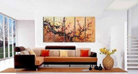 More Panel Oil Painting Fashion Framed 5 Panel Large Flowering Plum Tree Painting 5 Panel Canvas Art Picture Interior Decoration Home Wall XD01716