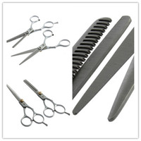 Wholesale 1set Regular Hairdressing Hair salon Cutting Thinning Silver Shears Stainless steel Scissors Set Tool