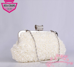 Wholesale In stock No Risking Fashion White Pearls Floral Wedding Bridal Accessories Bridal Hand bags Party Prom Evening Hand bags
