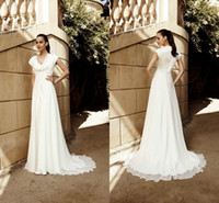 Wholesale Beach style Wedding Dress modern sweep length chiffon Bridal Gown fashion ivory long Party Dress gown item
