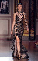 Wholesale 2014 Hot Sale Zuhair Murad High Neck Long Sleeve See Through Sexy Prom Dresses Mermaid Black Appliques Beads Evening Dresses