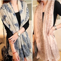 Wholesale 10pcs Women Chiffon Scarf Blue And White Porcelain Printed Fashion Women s Scarves Color