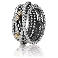 european Women's Party Authentic 925 Sterling Silver and Gold-plated Entangled Beauty Ring with Cz Crystal Match with Pandora Charm Jewelry