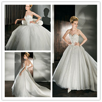 Cheap 2013 New Arrival Winter Plus size Ball Gown Demetrios Wedding Dresses Bridal Gown Beading Ruched Appliques Zipper Sleeveless Floor Length