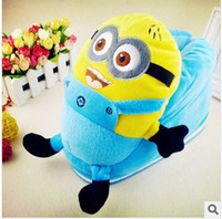 Wholesale Cartoon Despicable Me Plush Stuffed Slippers Soft minions Winter couple household Cartoon Cotton Slipper