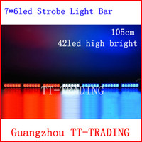 Strobe Light 42W 12V Car Strobe Light bar 42 LED Flash Warning light Police Firemen Auto Bumper Light high power bright DC 12V 105CM