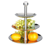 Wholesale fashion high quality Thickening stainless steel Three layer fruit plate