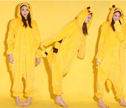 Wholesale Cartoon Animal Pikachuu Unisex Adult Flannel Onesies Onesie Pajamas Kigurumi Jumpsuit Hoodies Sleepwear For Adults Welcome Order