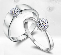 Wholesale sterling silver ring silver ring couple wedding ceremony diamond ring rhodium FY J002