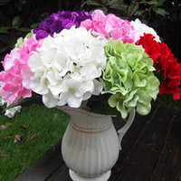 Wholesale 1 Bunch Head Hydrangea Posy Bouquet Silk Artificial Flowers Floral Wedding