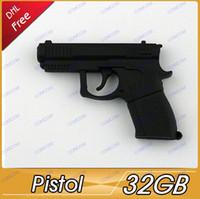 Wholesale 32GB pistol Shape USB Flash Drive Stick Guaranteed Full Creative U Disk G Cartoon Memory Pen Drive Card Key AY045