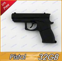 Wholesale 32GB pistol Shape USB Flash Drive Stick Guaranteed Full Creative U Disk G Cartoon Memory Pen Drive Card Key AV073