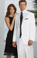 Men Pant Suit Formal Two Buttons White Groom Tuxedos Peak Lapel Groomsmen Men Wedding Suits(Jacket+Pants+Tie+Vest)H519
