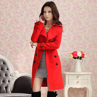 Women Middle_Length Wool Blend Winter Red Woolen Coats For Woman Double Breasted Long Sleeve Ladies Career Overcoat Slim-Fit Warm Christmas Party Coat Outwear HY08106